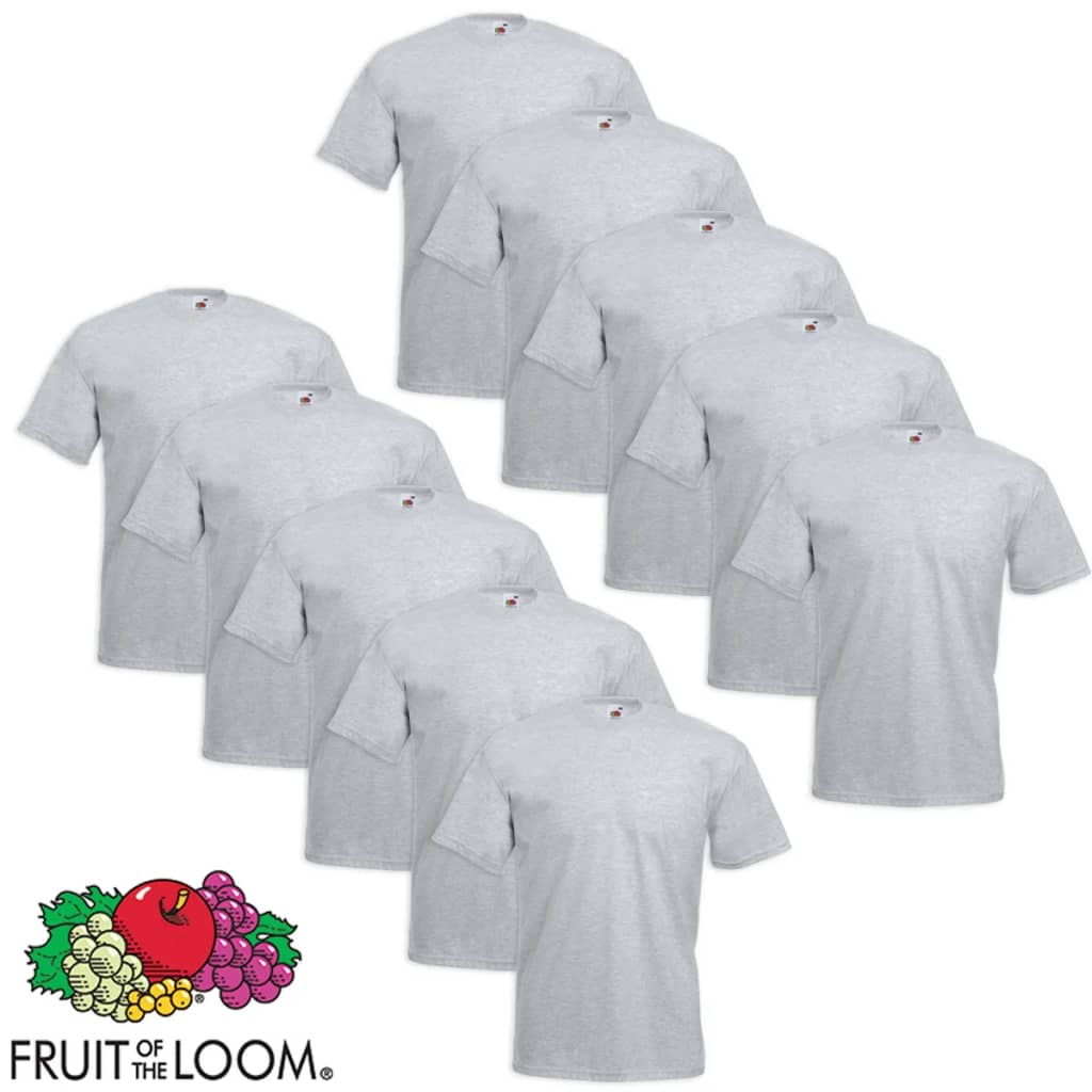 Fruit of the Loom 10 db Value Weight nagyméretű póló szürke 4XL