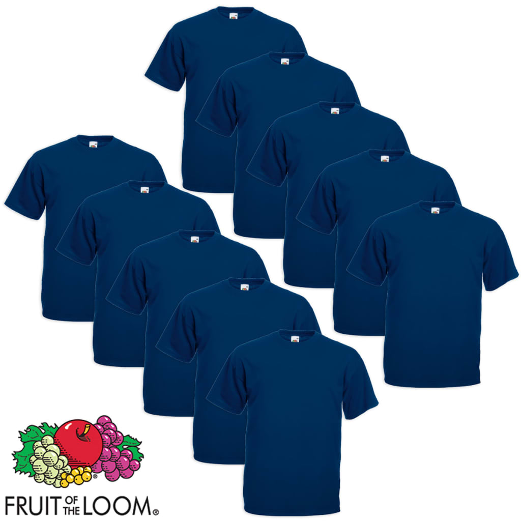Fruit of the Loom 10 db Value Weight nagyméretű tengerészkék póló 4XL