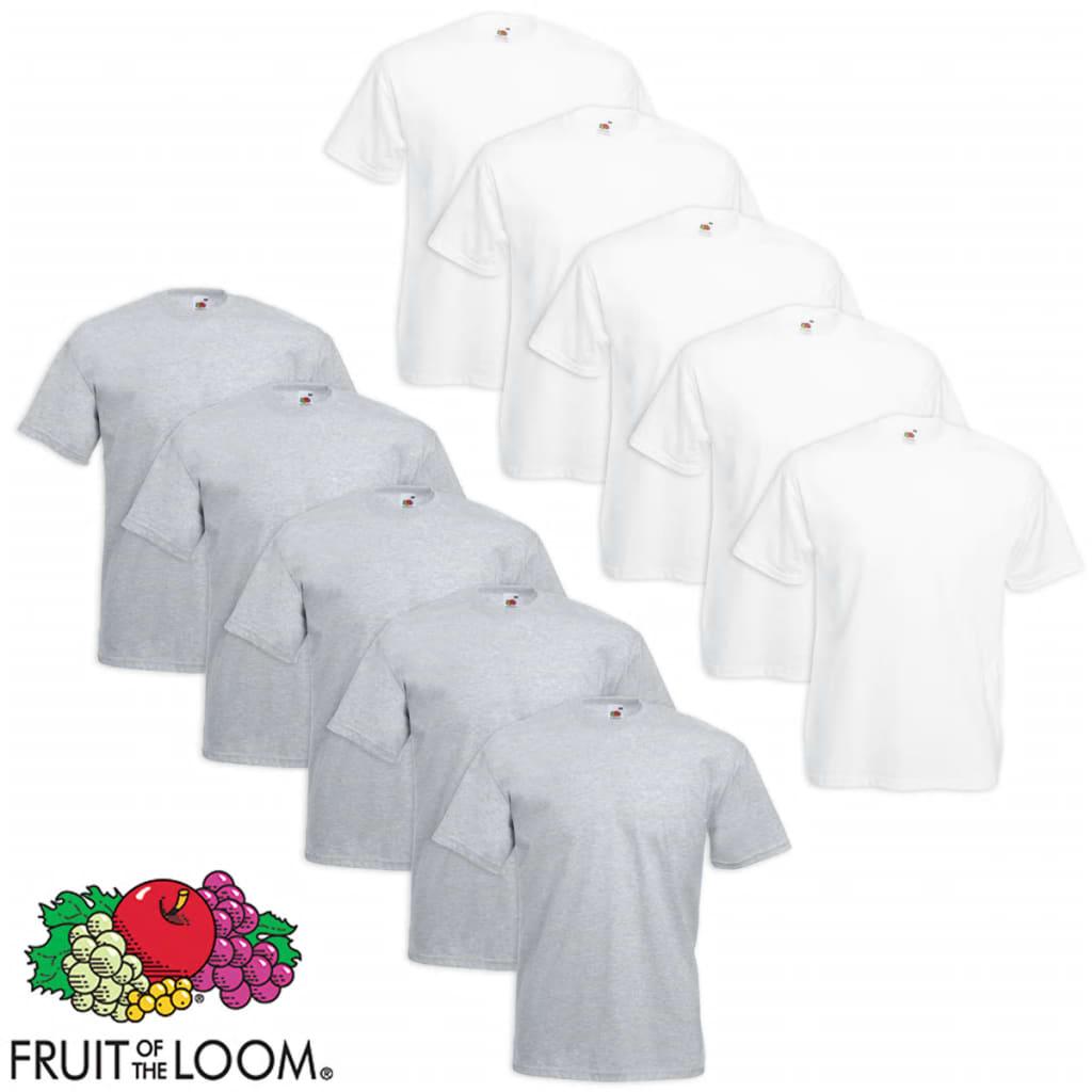 Fruit of the Loom 10 db Value Weight nagyméretű fehér és szürke póló 5XL