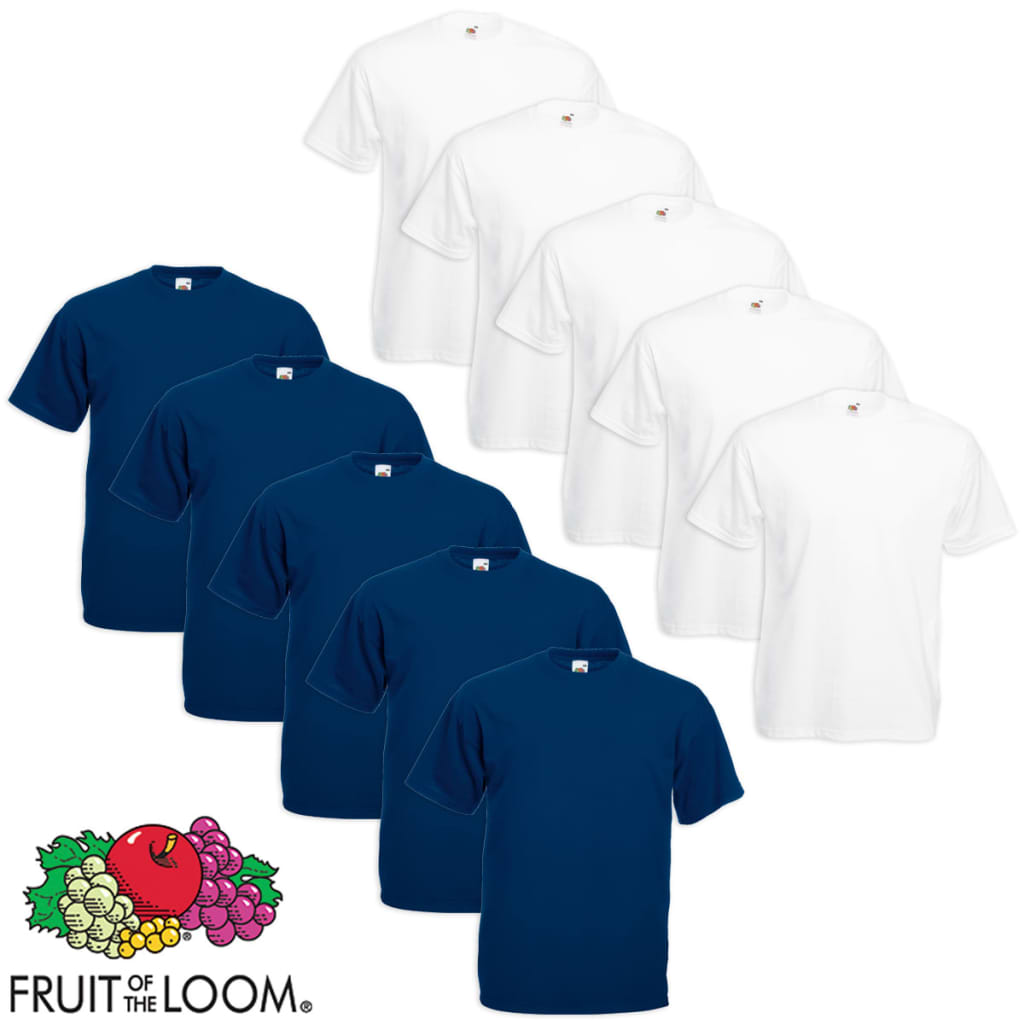 Fruit of the Loom 10 db Value Weight nagyméretű fehér és tengerészkék póló 5XL