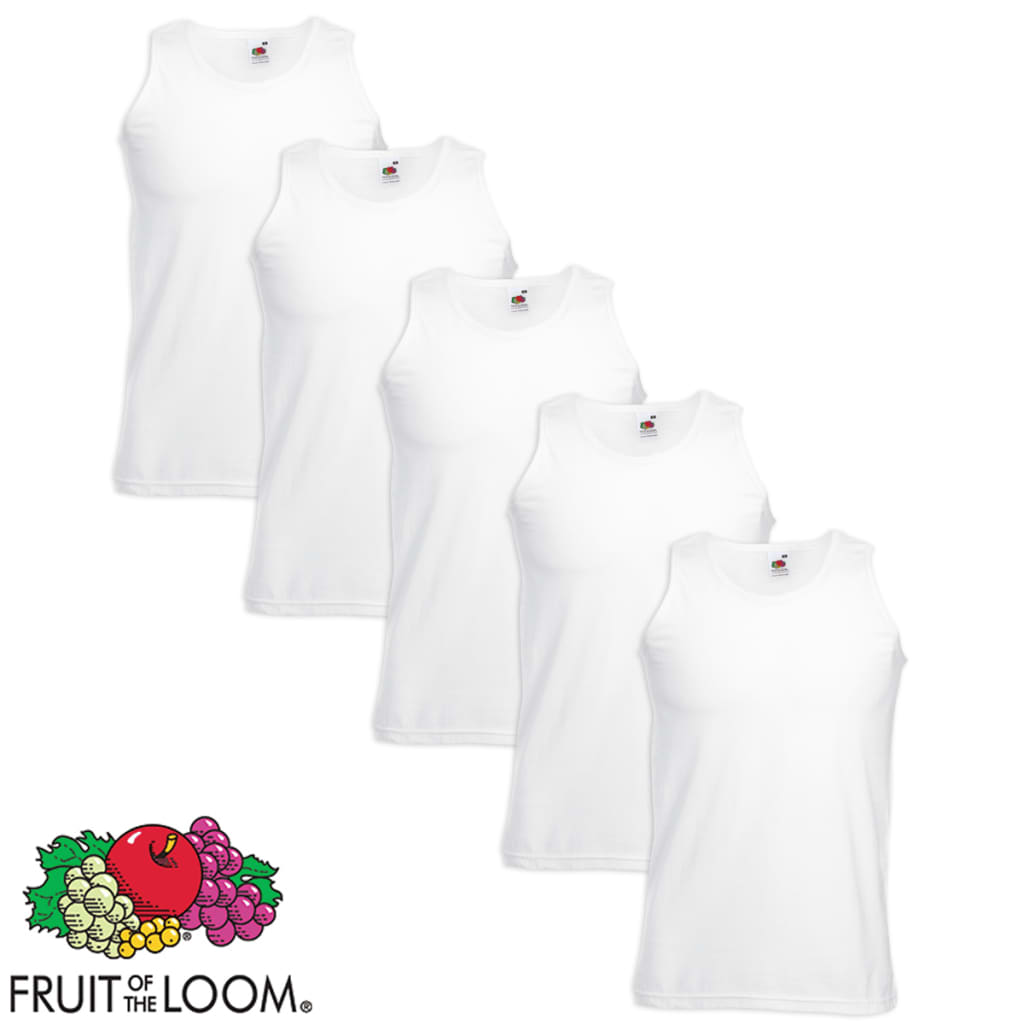 Fruit-of-the-Loom-5-Canottiere-Sportive-Valueweight-Cotone-Bianche-XXL
