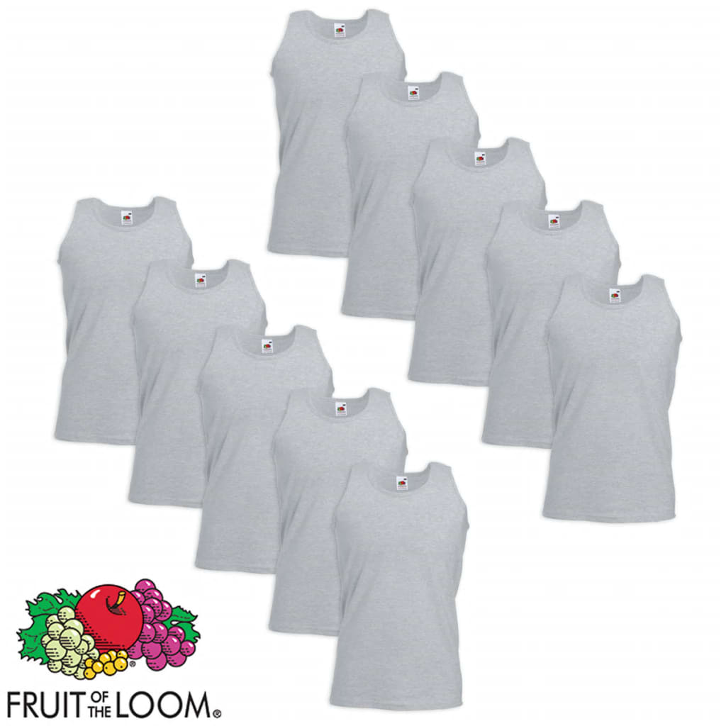 Fruit-of-the-Loom-10-Canottiere-Sportive-Valueweight-Cotone-Grigie-L