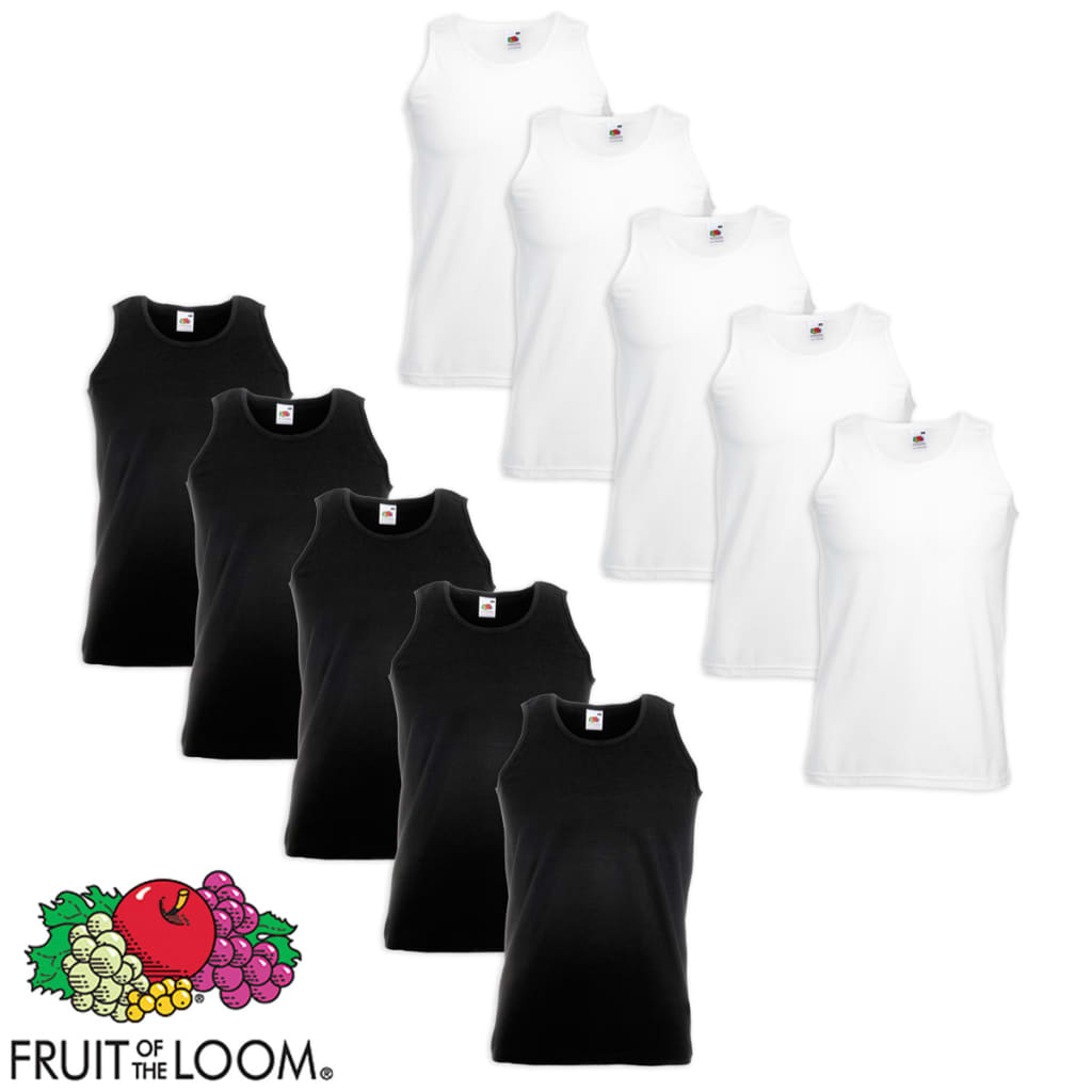 Fruit-of-the-Loom-10-Canottiere-Valueweight-Cotone-Bianche-e-Nere-XL