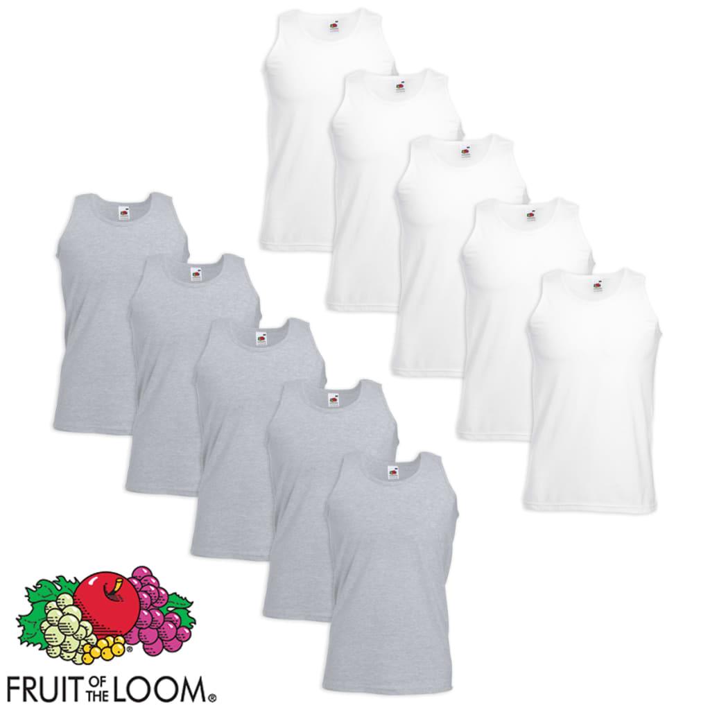 Fruit of the Loom 10 débardeurs pour homme T-shirts coton blanc et gris taille M