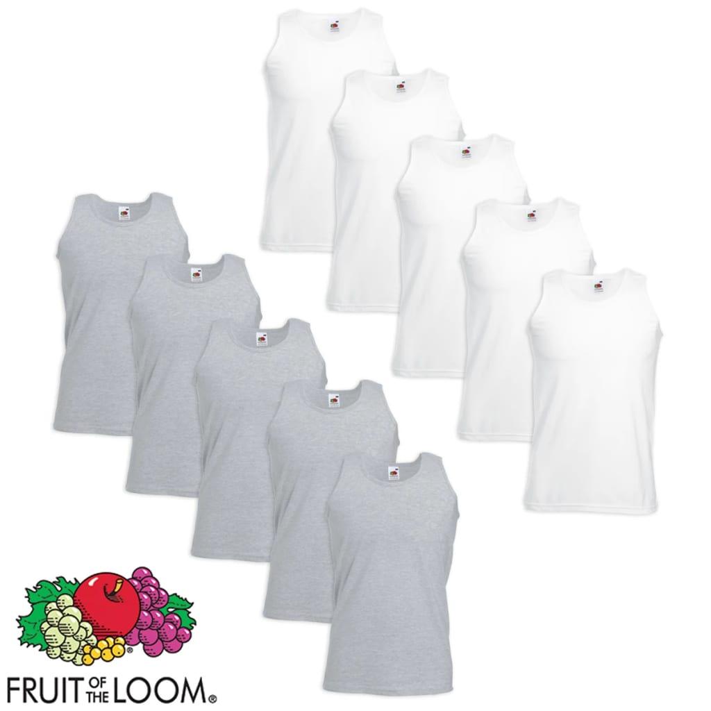 Fruit of the Loom 10 db Value Weight fehér és szürke pamut atléta trikó XXL