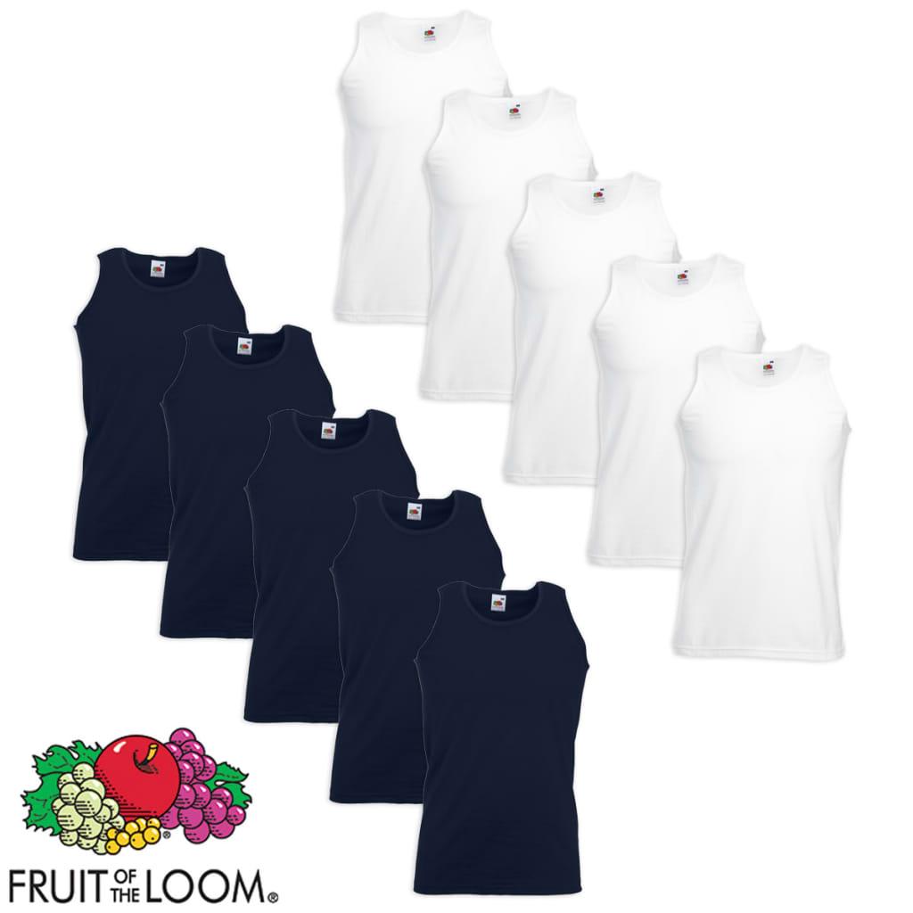 Fruit of the Loom 10 db Value Weight fehér és tengerészkék pamut atléta trikó S