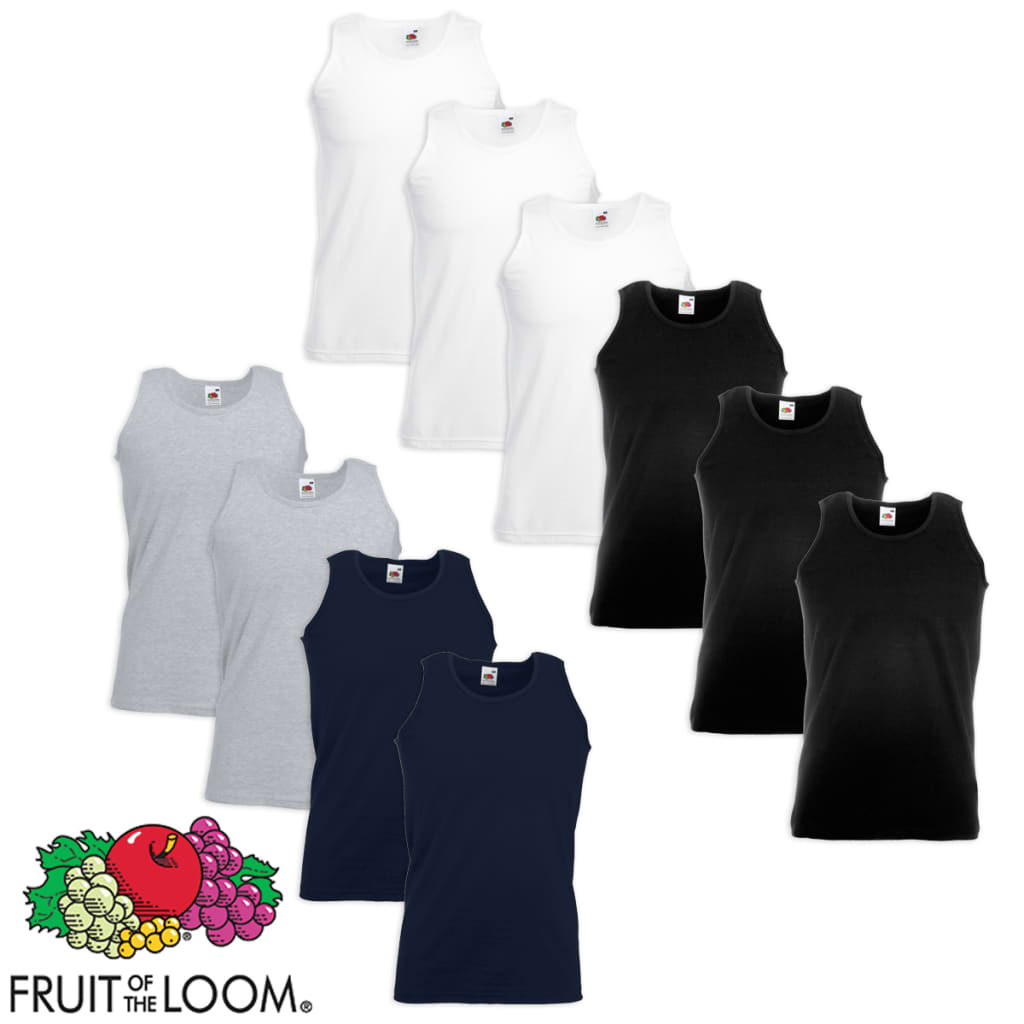 10-Uds-Camiseta-sin-Mangas-Talla-M-Multicolor-Fruit-of-the-Loom-Value-Weight