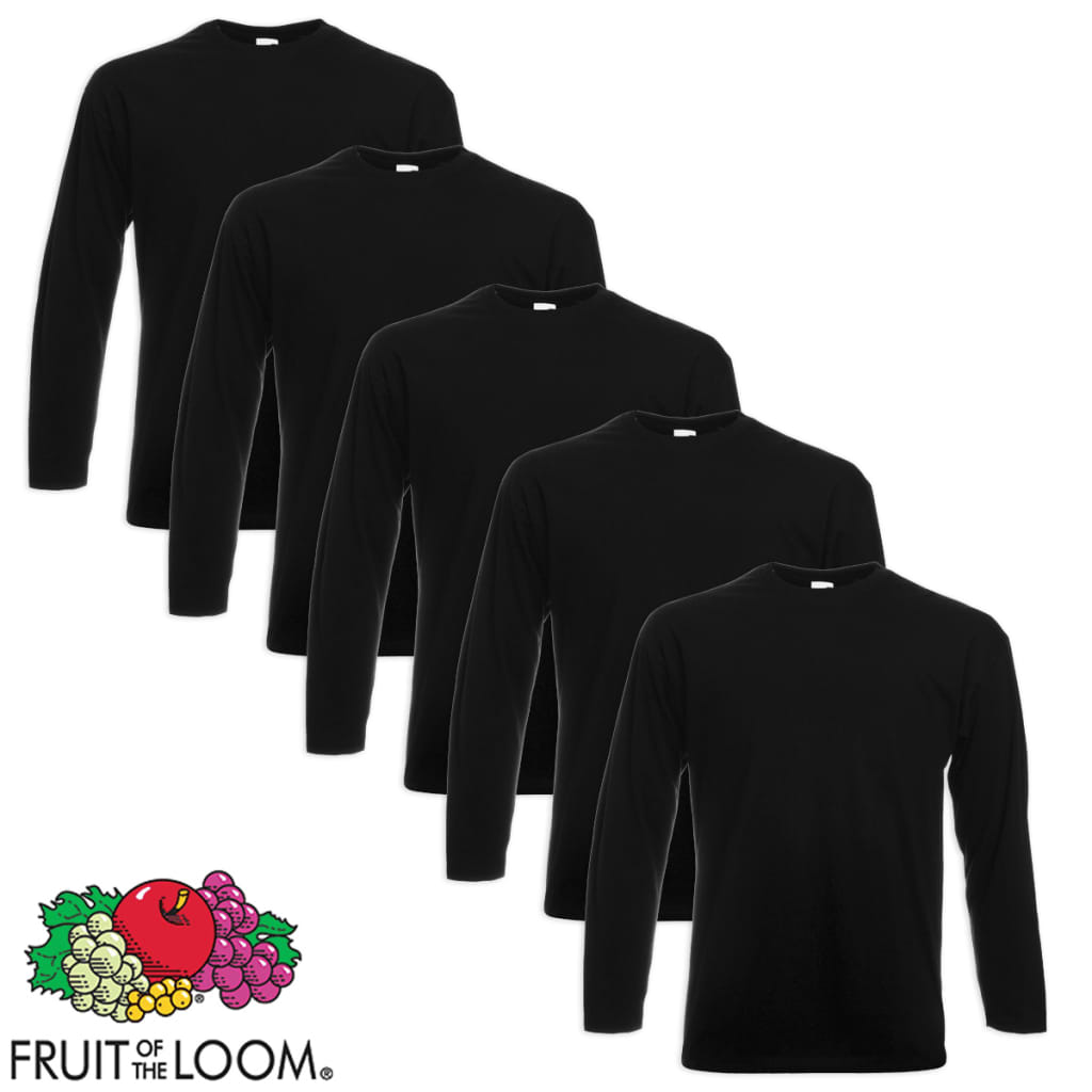Pack de 5 Camisetas Negro Manga Larga Talla S Fruit of the Loom Value Weight