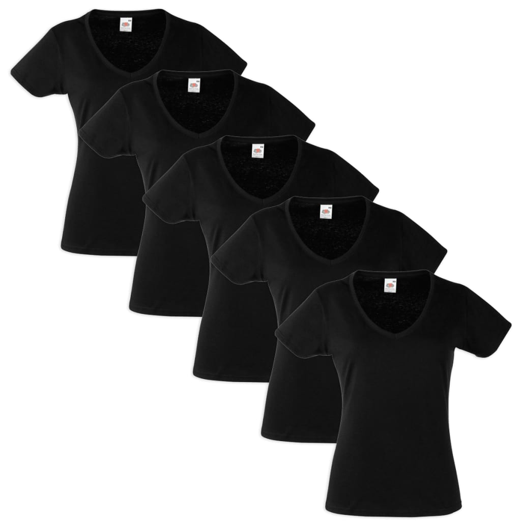 Fruit-of-the-Loom-Pack-5-Camisetas-XS-Negro-Mujer-Cuello-en-V-Pico-Value-Weight