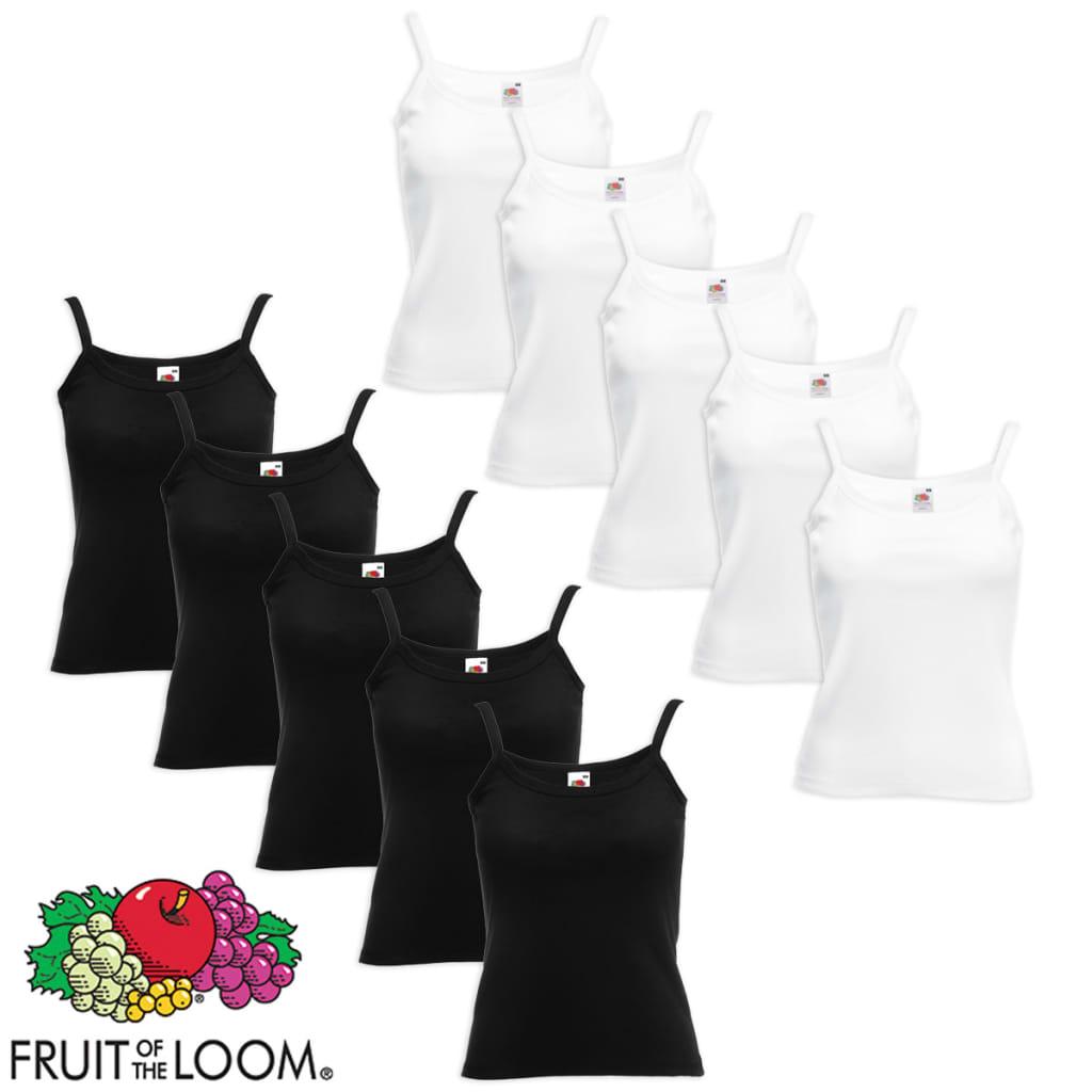 Fruit of the Loom 10 db fehér/fekete spagettipántos pamut női felső M