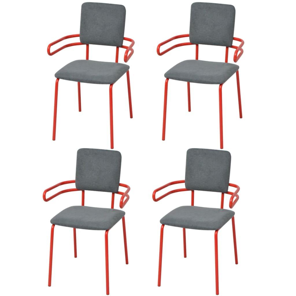 Vidaxl silla sill n de comedor 4 unidades rojo y gris for Silla sillon comedor