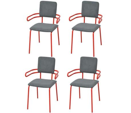 Acheter vidaxl chaise fauteuil de salle manger 4 for Salle a manger rouge et gris