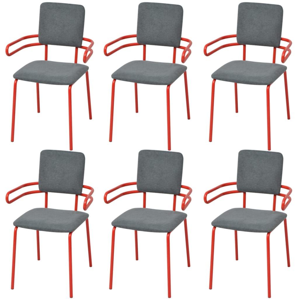 acheter vidaxl chaise fauteuil de salle manger 6 pi ces rouge et gris pas cher. Black Bedroom Furniture Sets. Home Design Ideas
