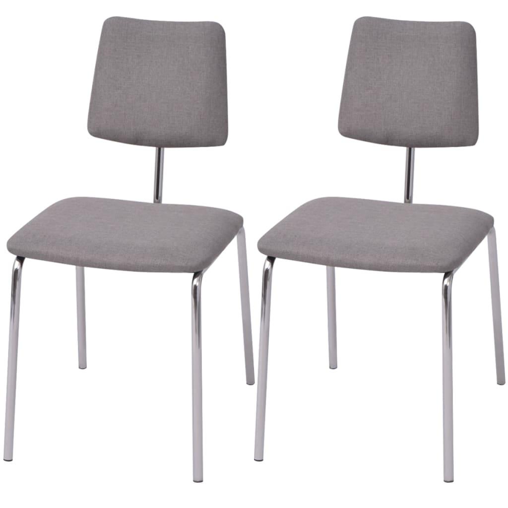 Vidaxl set 2 sedie da tavolo in tessuto grigio for Sedie da tavolo