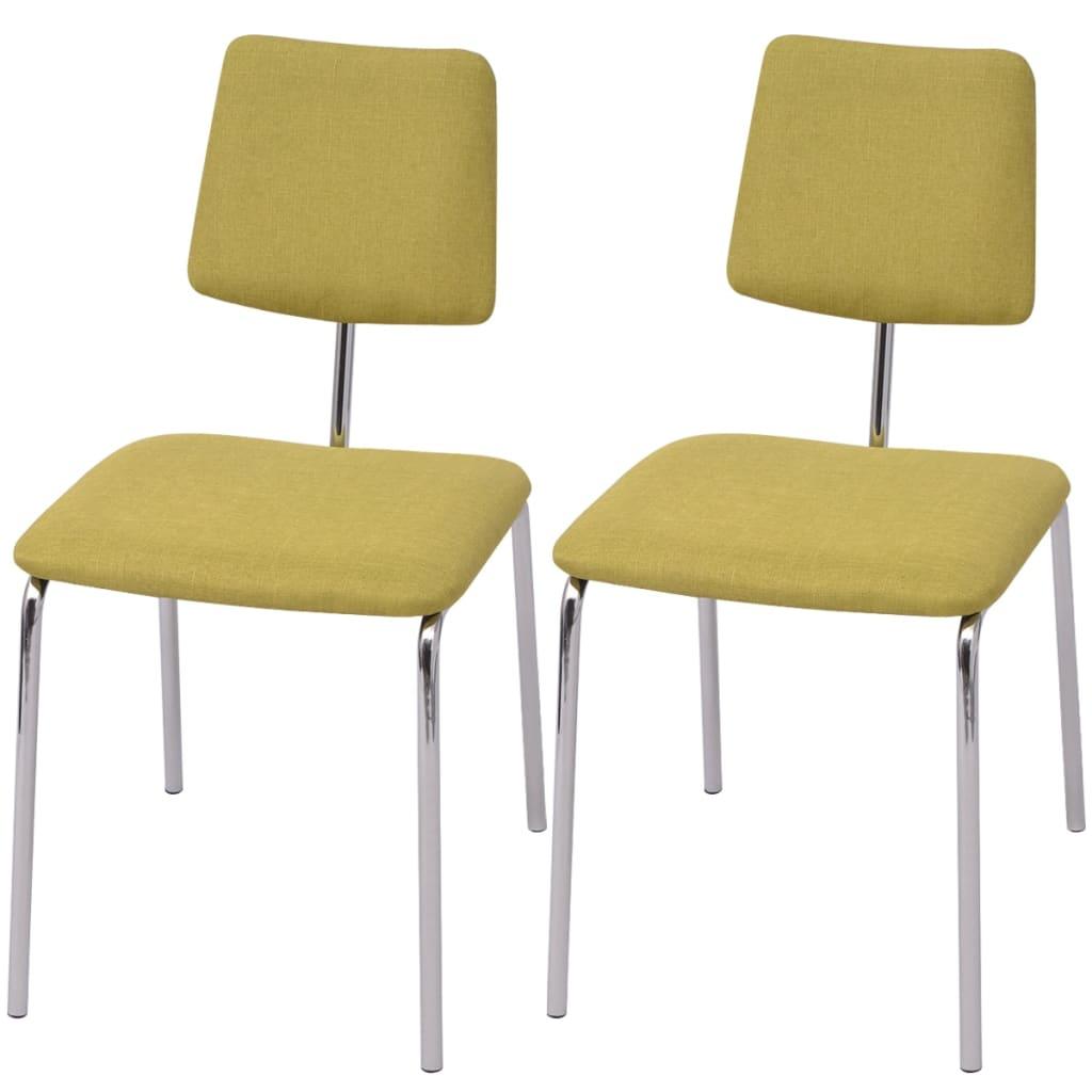 Vidaxl sillas de comedor 2 unidades tela verde for Sillas de tela comedor
