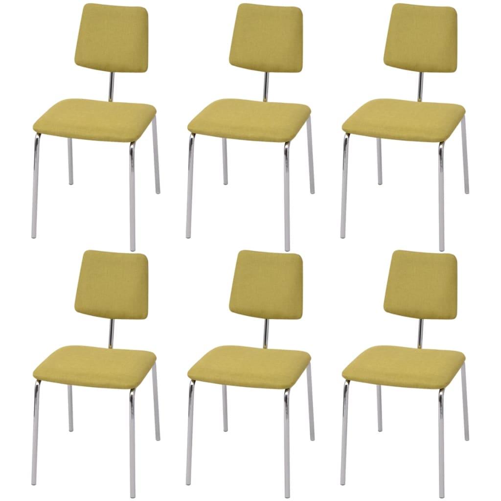 Vidaxl sillas de comedor 6 unidades tela verde tienda - Tela para sillas de comedor ...