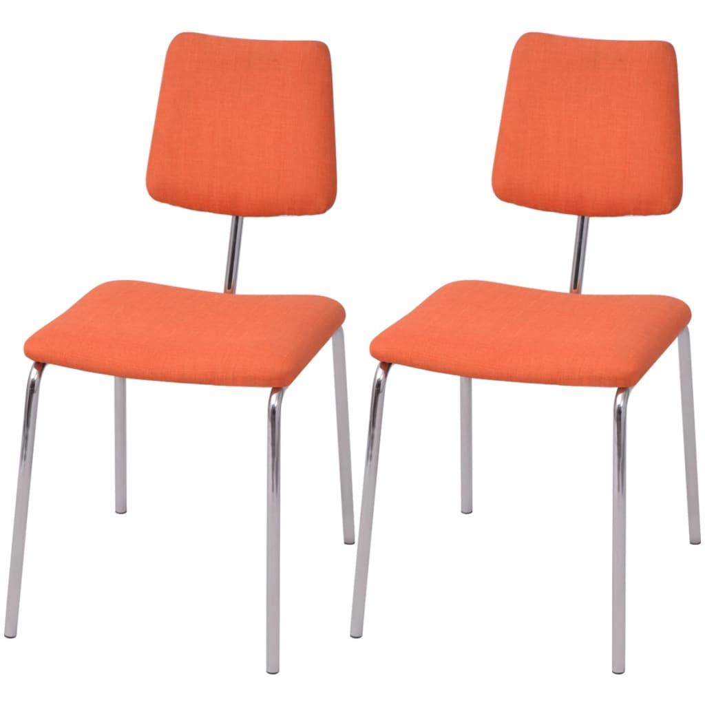 Vidaxl sillas de comedor 2 unidades tela naranja for Sillas de tela comedor