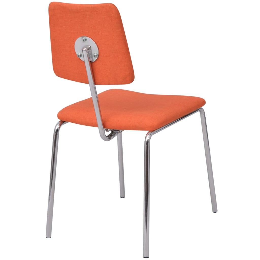 Vidaxl sillas de comedor 4 unidades tela naranja for Sillas de tela comedor