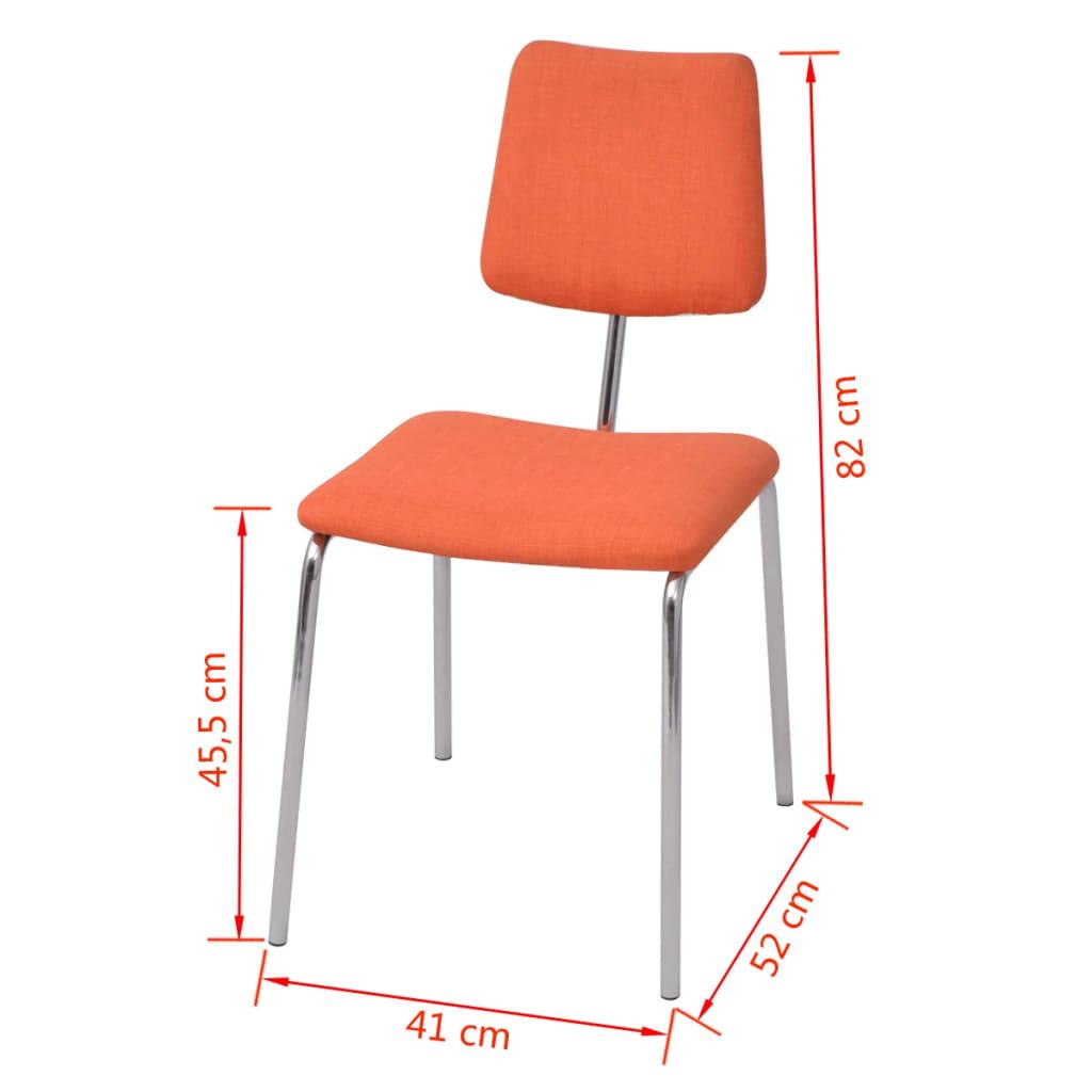 Vidaxl sillas de comedor 4 unidades tela naranja tienda - Tela para sillas de comedor ...
