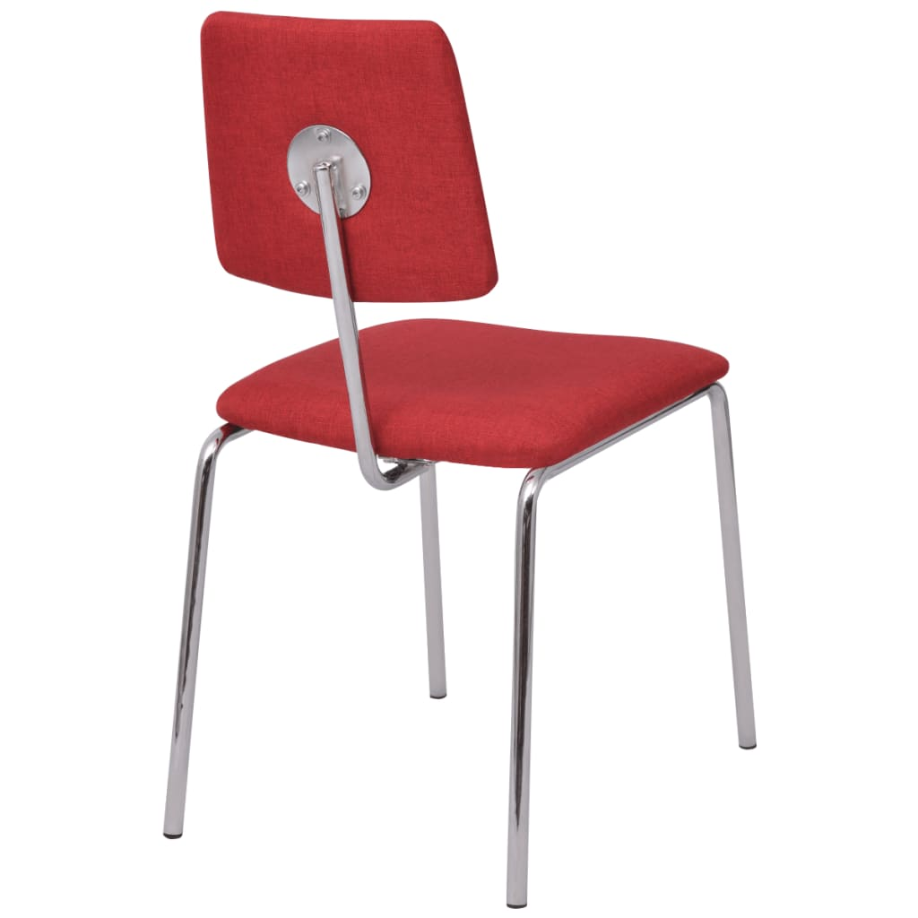 acheter vidaxl chaise de salle manger 4 pi ces rouge tissu pas cher. Black Bedroom Furniture Sets. Home Design Ideas