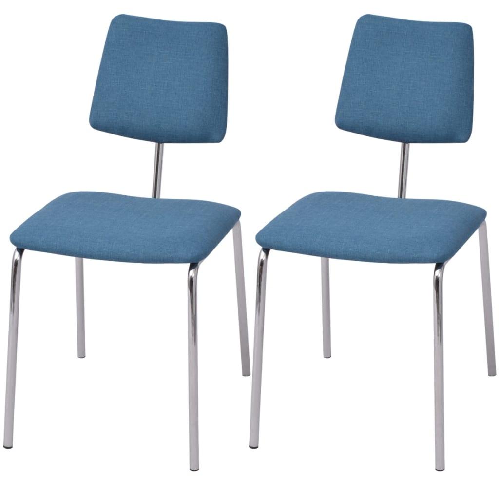 vidaXL Krzesła jadalniane materiałowe, 2 szt. niebieskie