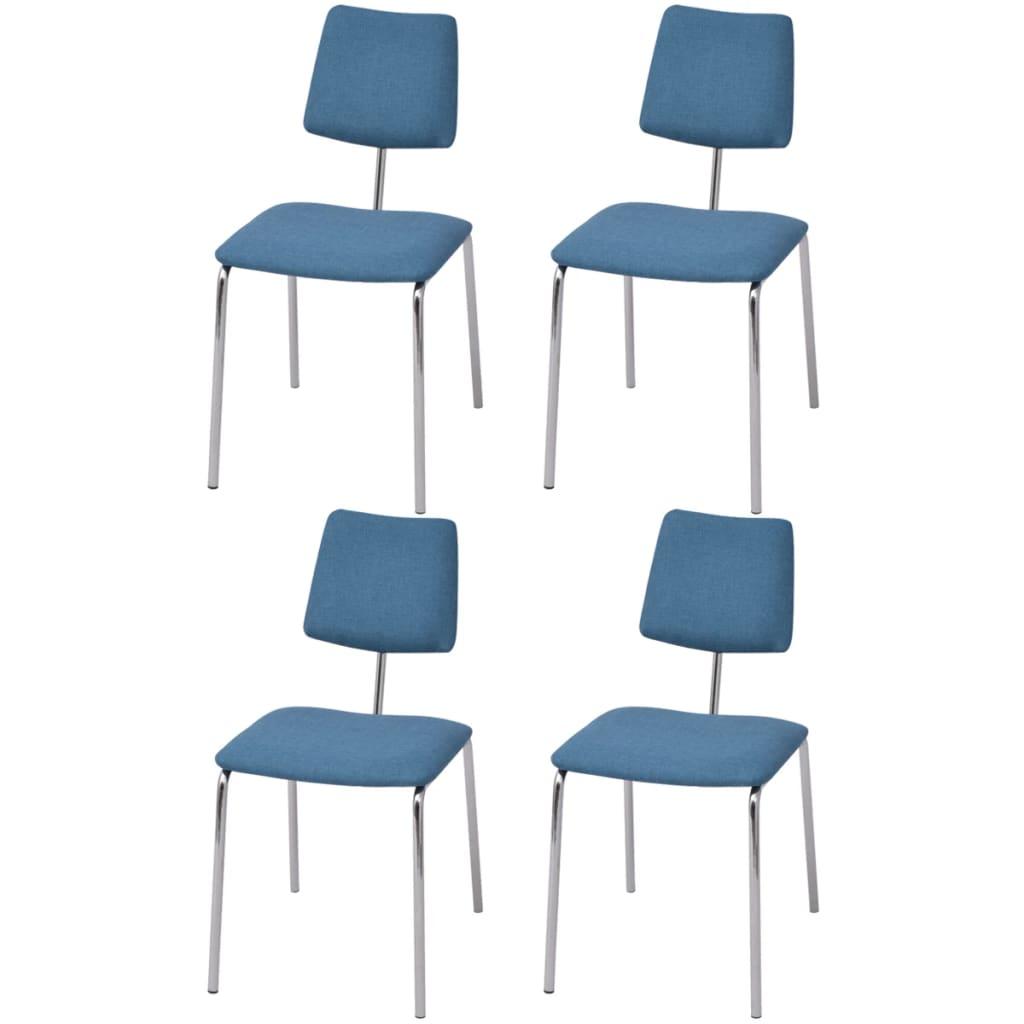 vidaXL Krzesła jadalniane materiałowe, 4 szt. niebieskie