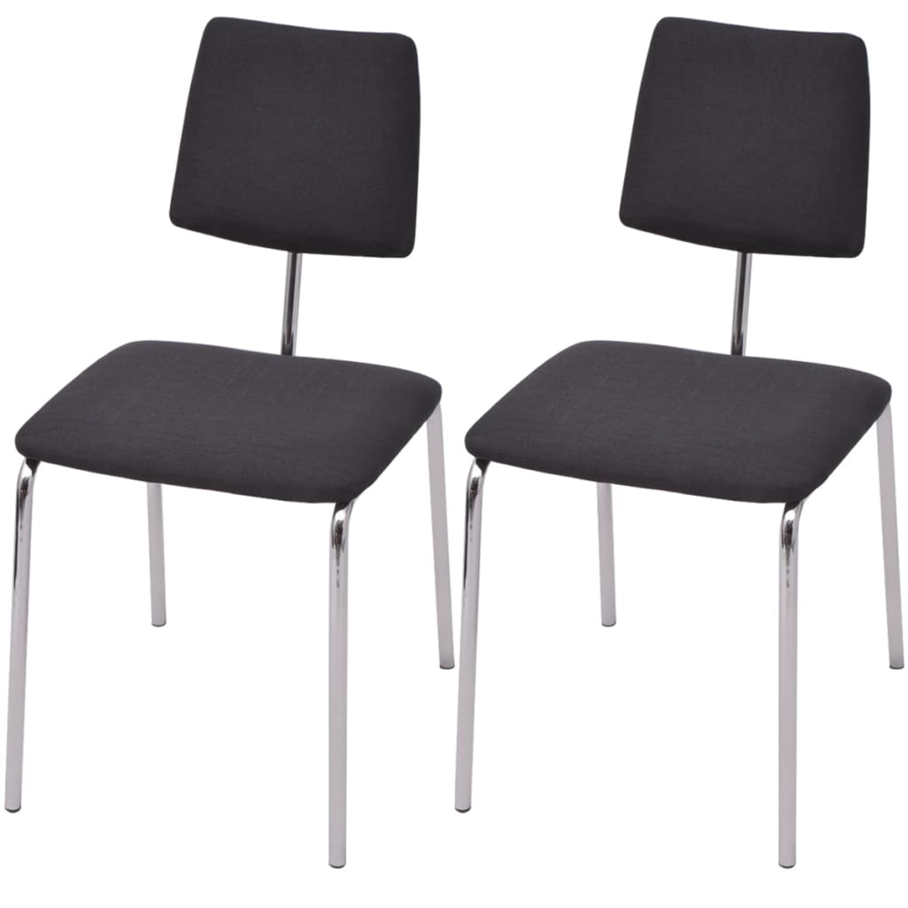 Vidaxl sillas de comedor 2 unidades tela negra for Sillas de tela comedor