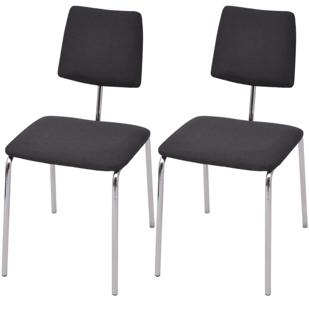 vidaXL 2 darab fekete szövet borítású étkező szék