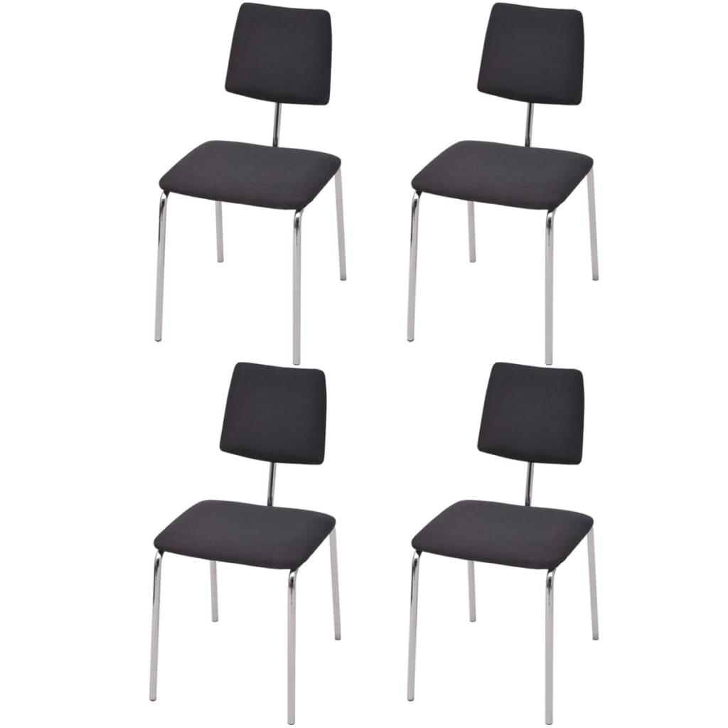 Vidaxl sillas de comedor 4 unidades tela negra tienda - Tela para sillas de comedor ...