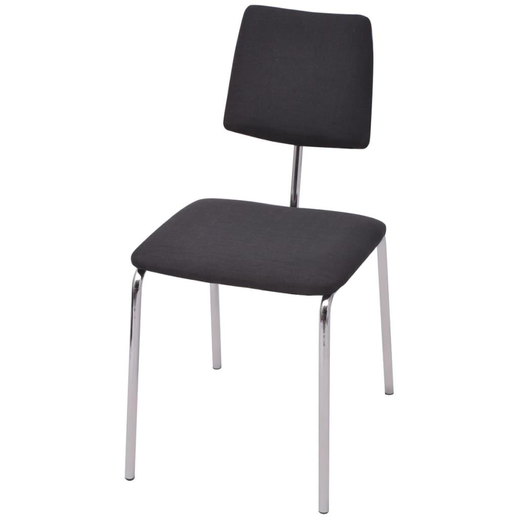 Vidaxl sillas de comedor 6 unidades tela negra for Sillas de tela comedor
