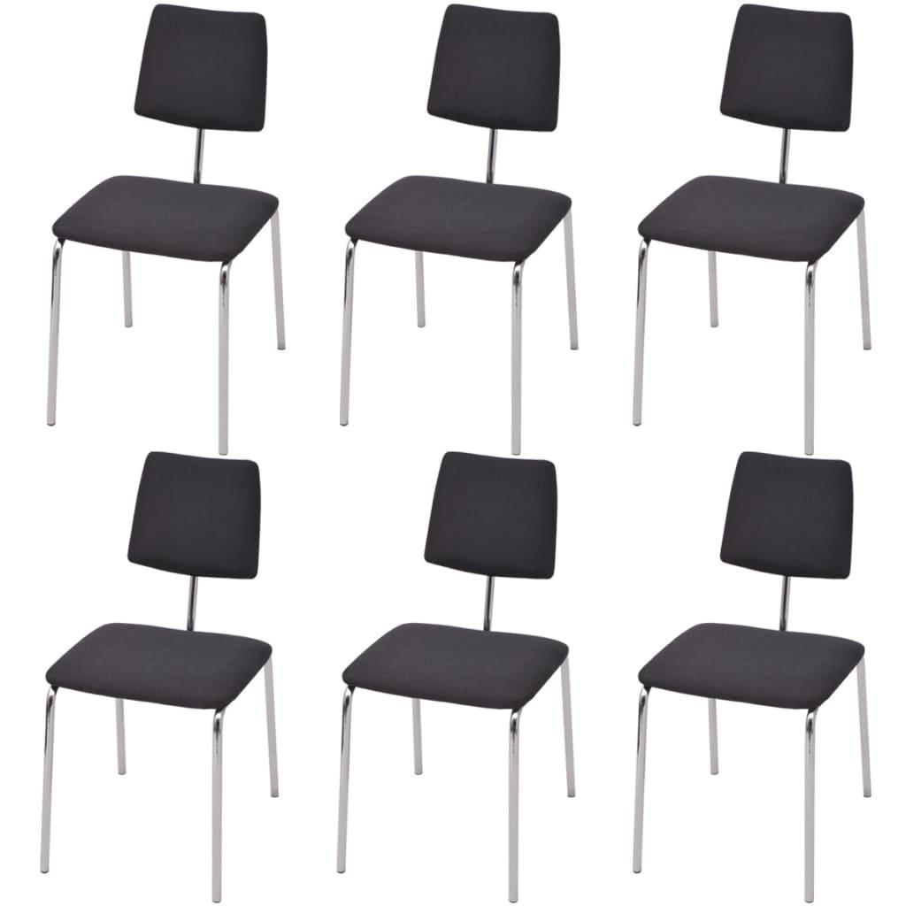 vidaXL Krzesła do jadalni z materiałowym, czarnym wykończeniem 6 szt.
