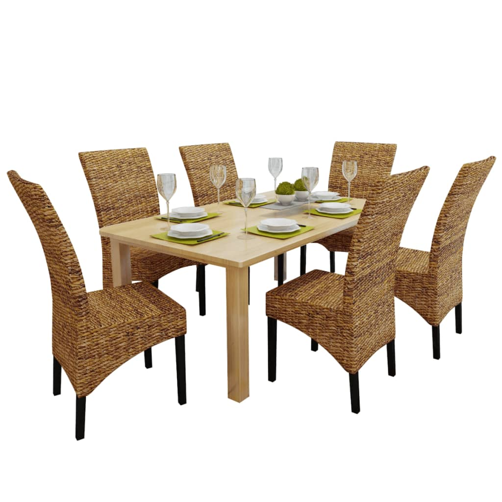 VidaXL Rattan Abaca Wicker Chair Dining Chairs Solid