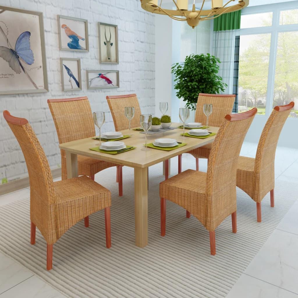 Vidaxl sedie sala da pranzo 6 pz in rattan marrone - Sedie sala da pranzo ...