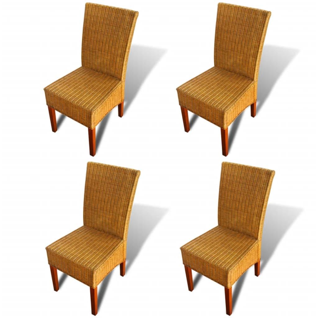 Acheter vidaxl chaises de salle manger 4 pi ces en rotin marron pas cher for Salle a manger en solde