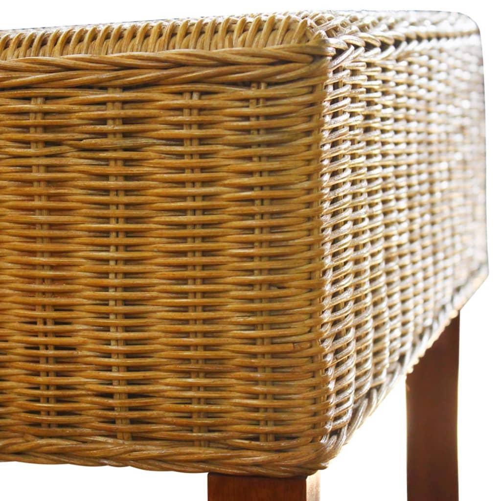 VidaXL 6x Dining Chairs Rattan Brown With Wood Strip