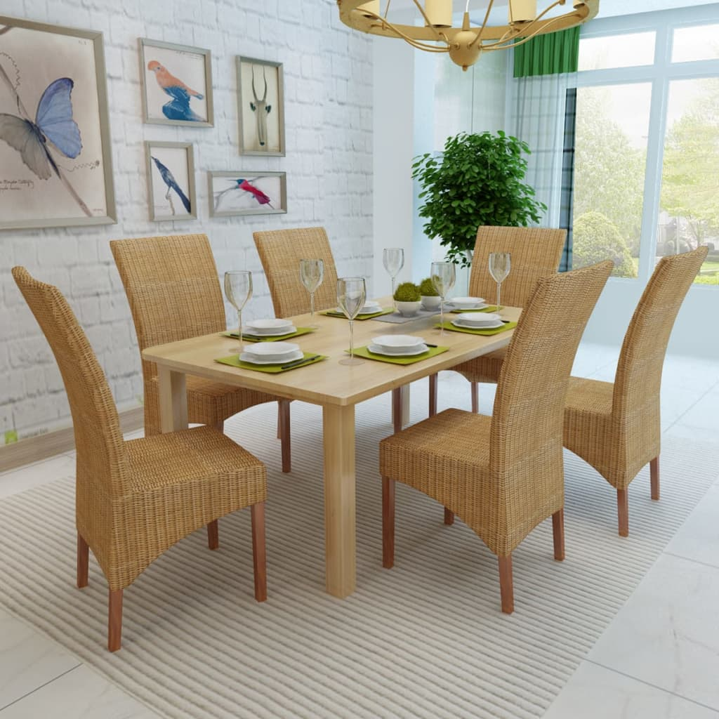 Vidaxl ensemble chaises de salle manger cuisine 6 pi ces for Ensemble salle a manger rotin
