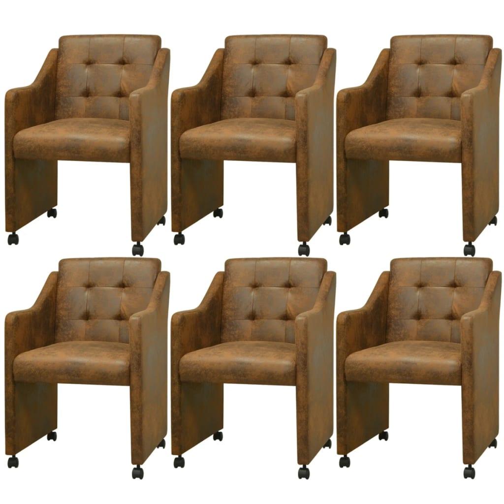 vidaxl esszimmerst hle 6 st ck braun 59x57 5x86 5 cm. Black Bedroom Furniture Sets. Home Design Ideas