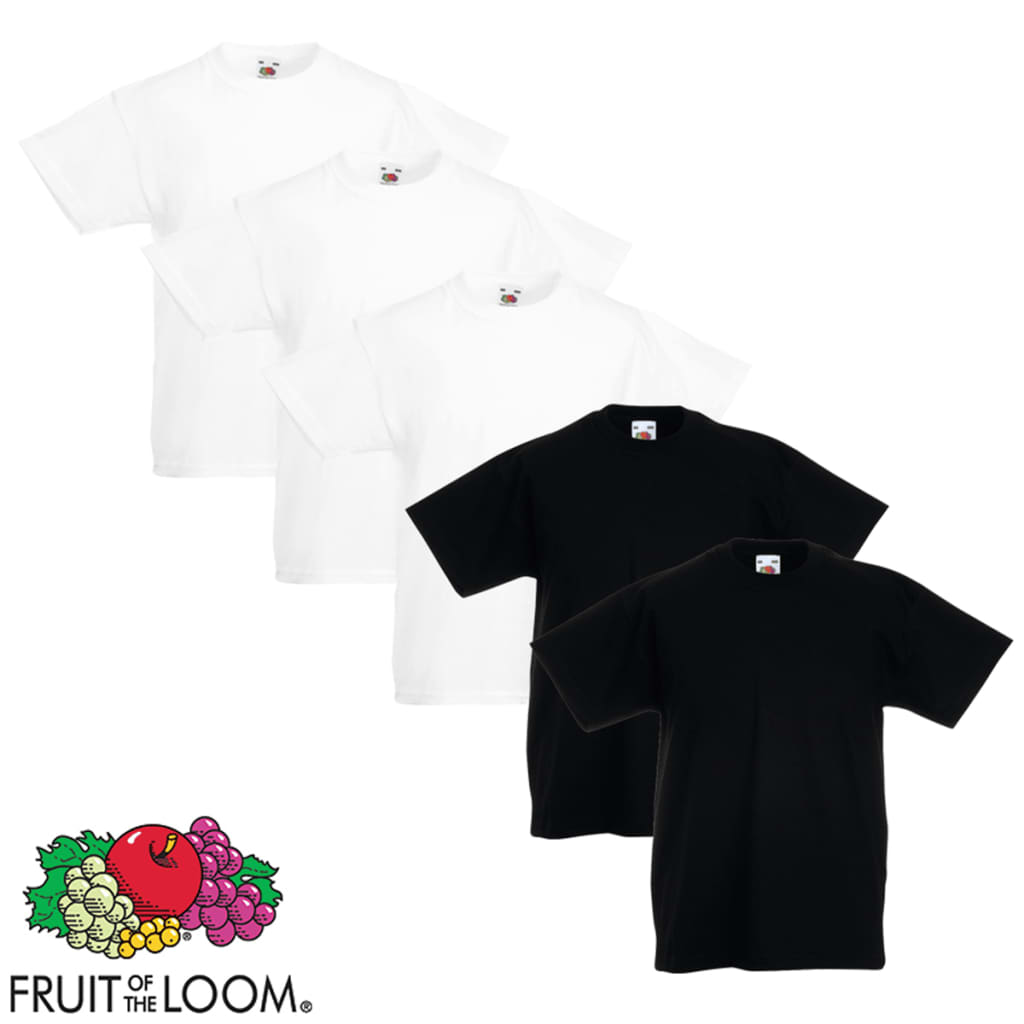 Fruit of the Loom 5 db eredeti gyerek póló fehér/fekete 104-es méret