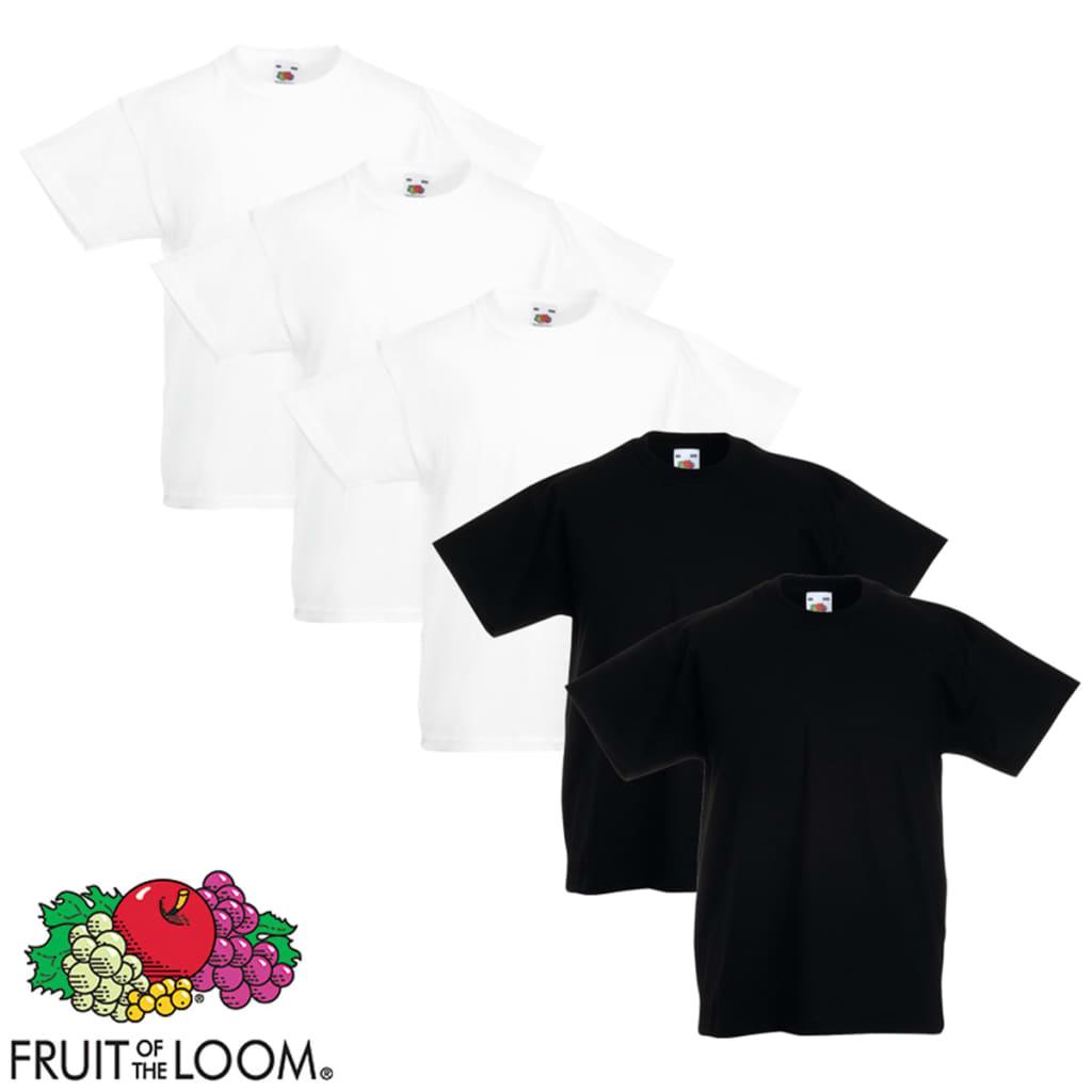 Fruit of the Loom 5 db eredeti gyerek póló fehér/fekete 116-os méret