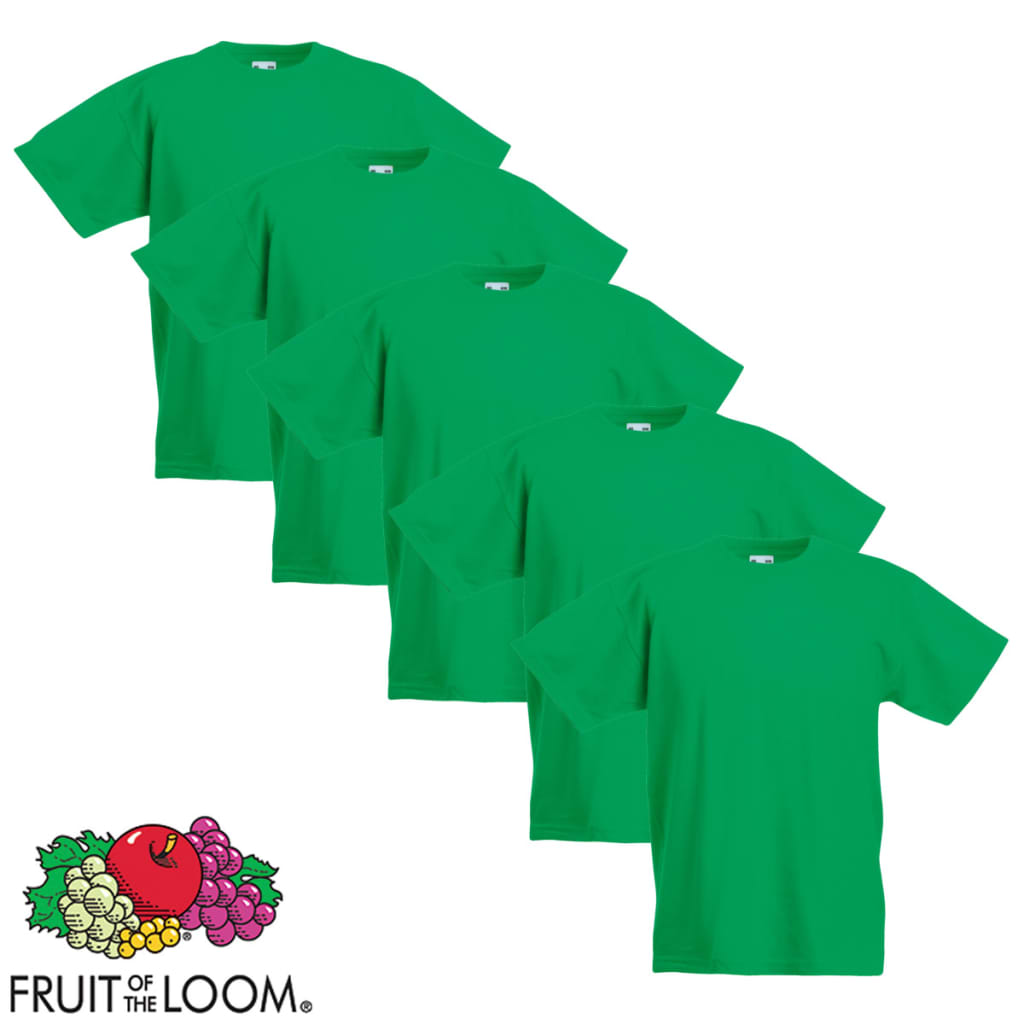 Fruit of the Loom Original Kids T-shirt 5 stuks groen maat 104