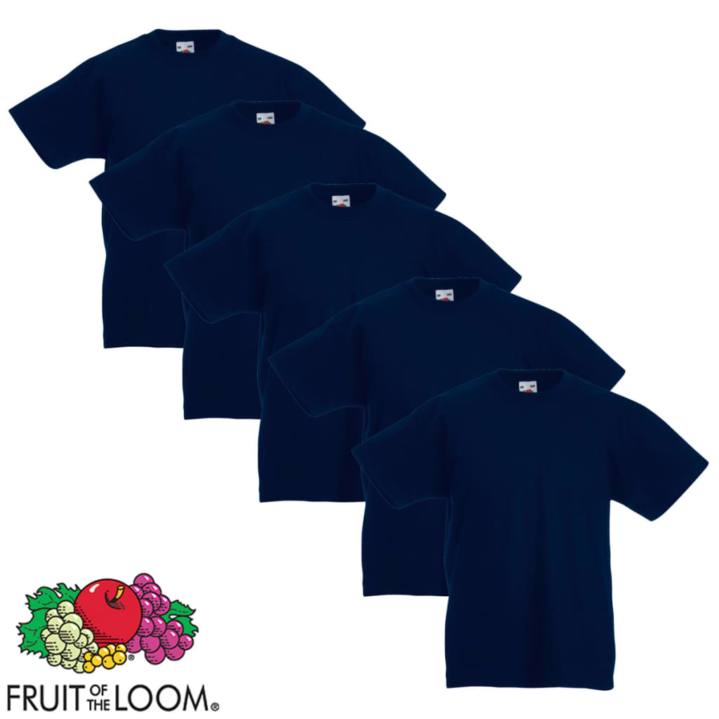 Fruit-of-the-Loom-Original-5x-Kinder-T-Shirt-Kids-T-Shirts-Marineblau-Gr-164