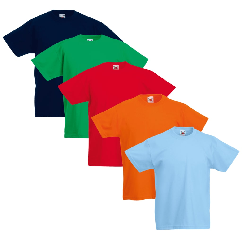 Conjunto-Camiseta-para-ninos-5-unidades-Multicolor-Talla-116-Fruit-of-the-Loom