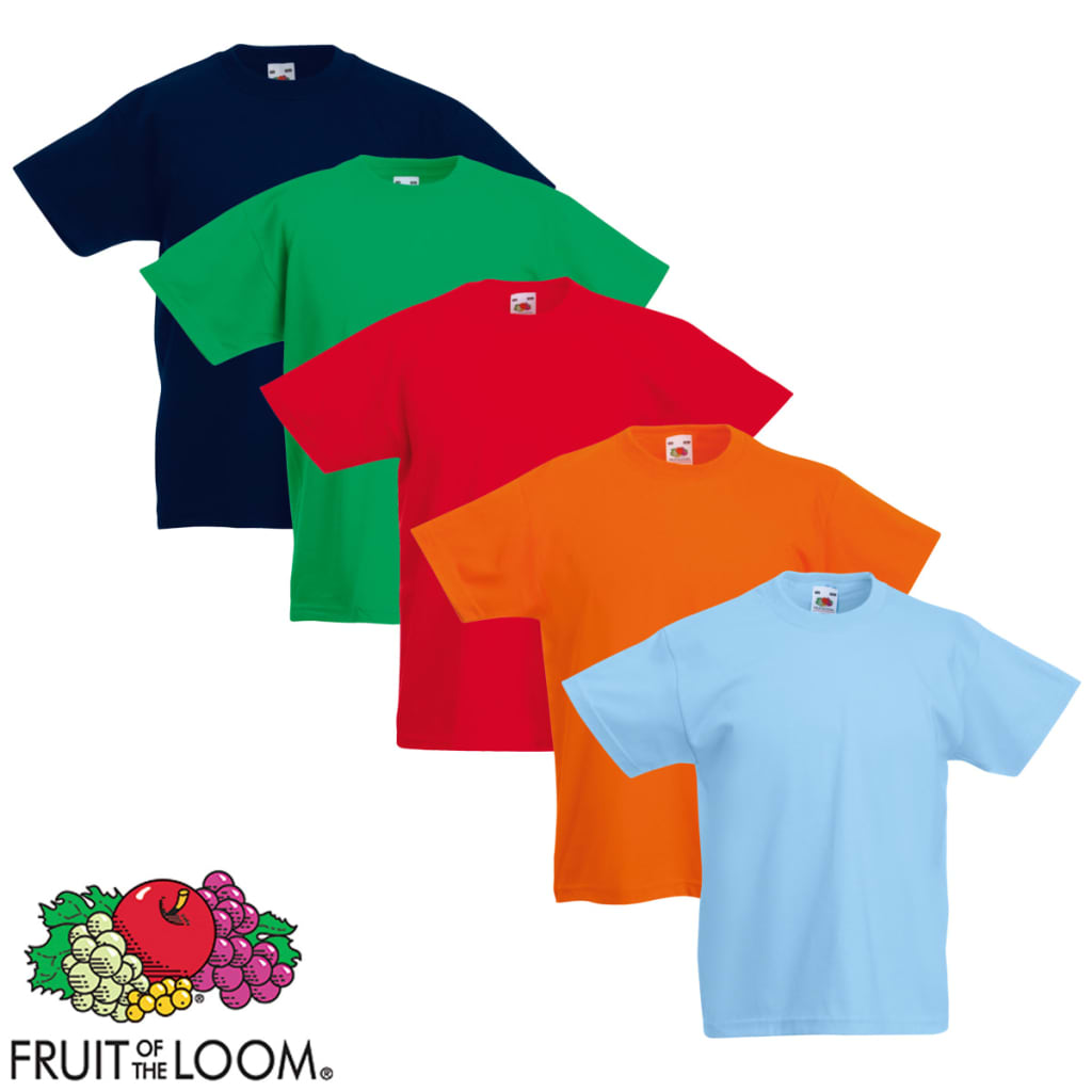 Fruit-of-the-Loom-Original-5x-Kinder-T-Shirt-Kids-T-Shirts-Mehrfarbig-Gr-116