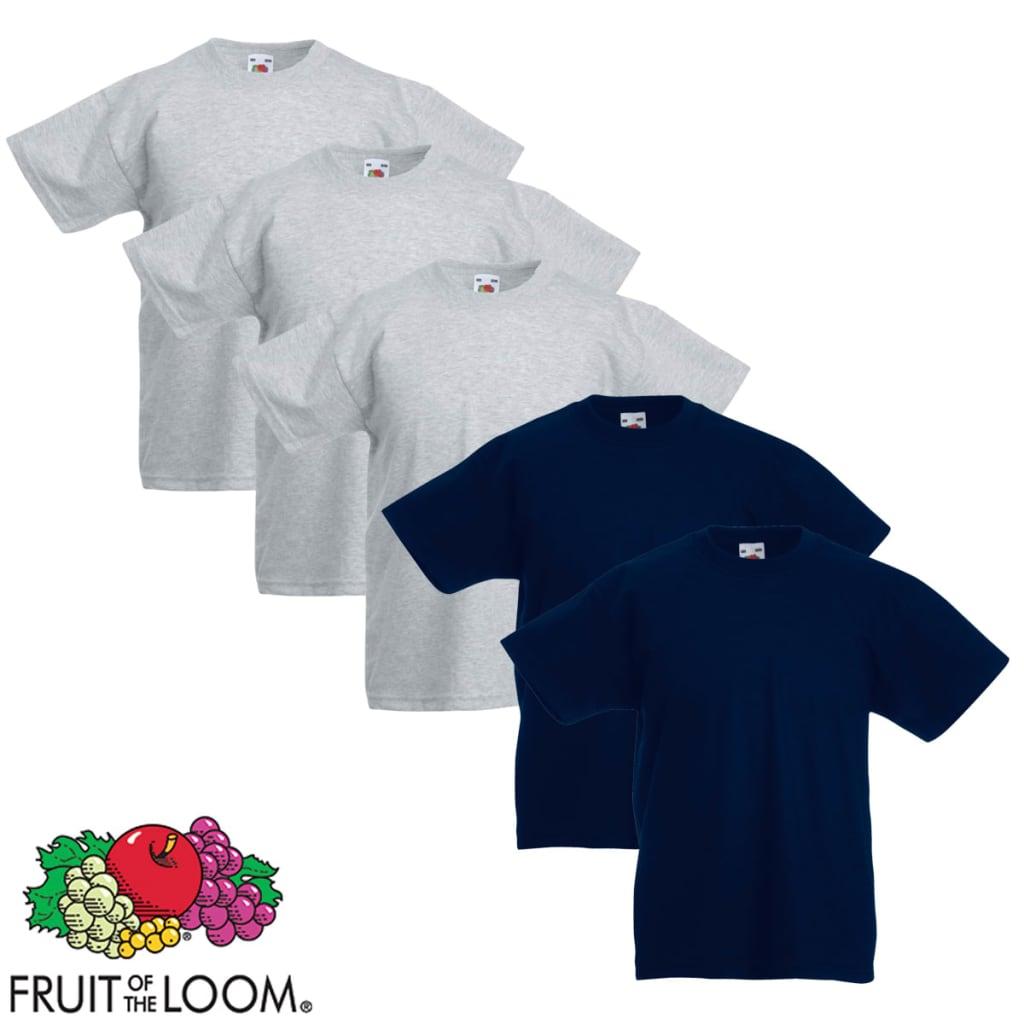 Fruit of the Loom 5 db Szürke és tengerész 128-as méretű eredeti gyerek póló