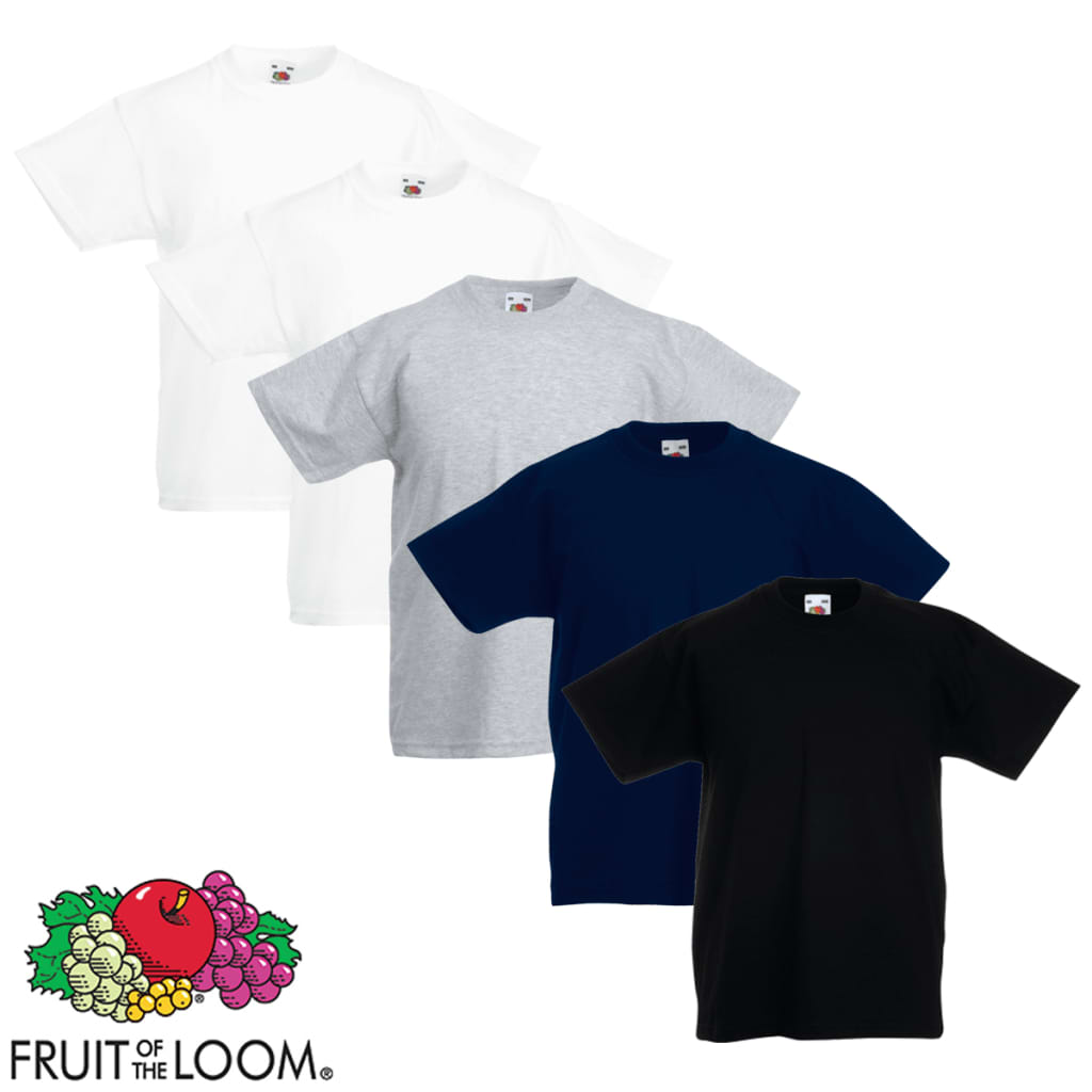 Fruit-of-the-Loom-5-Camisetas-Infantiles-Algodon-100-Diferentes-Tallas-Colores