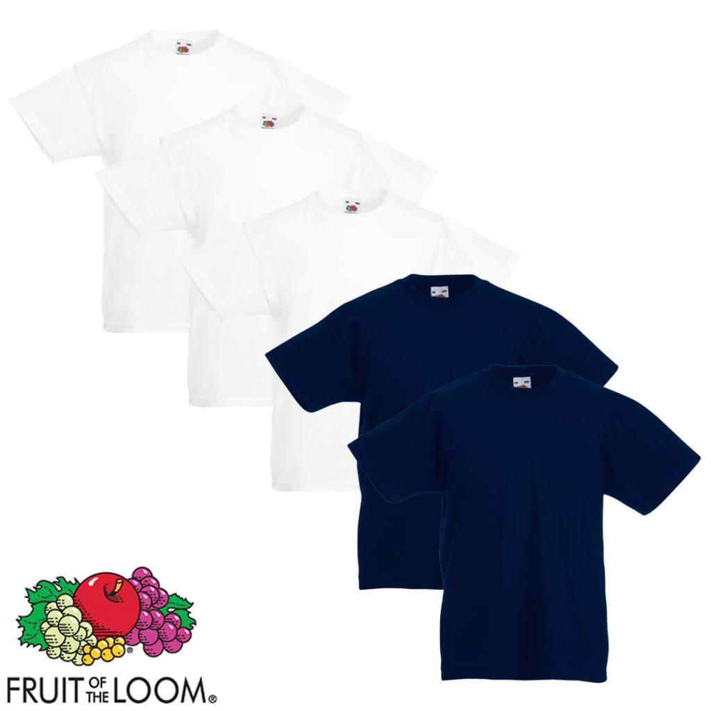 Fruit of the Loom 5 db eredeti gyerek póló fehér és tengerészkék 116-os méret
