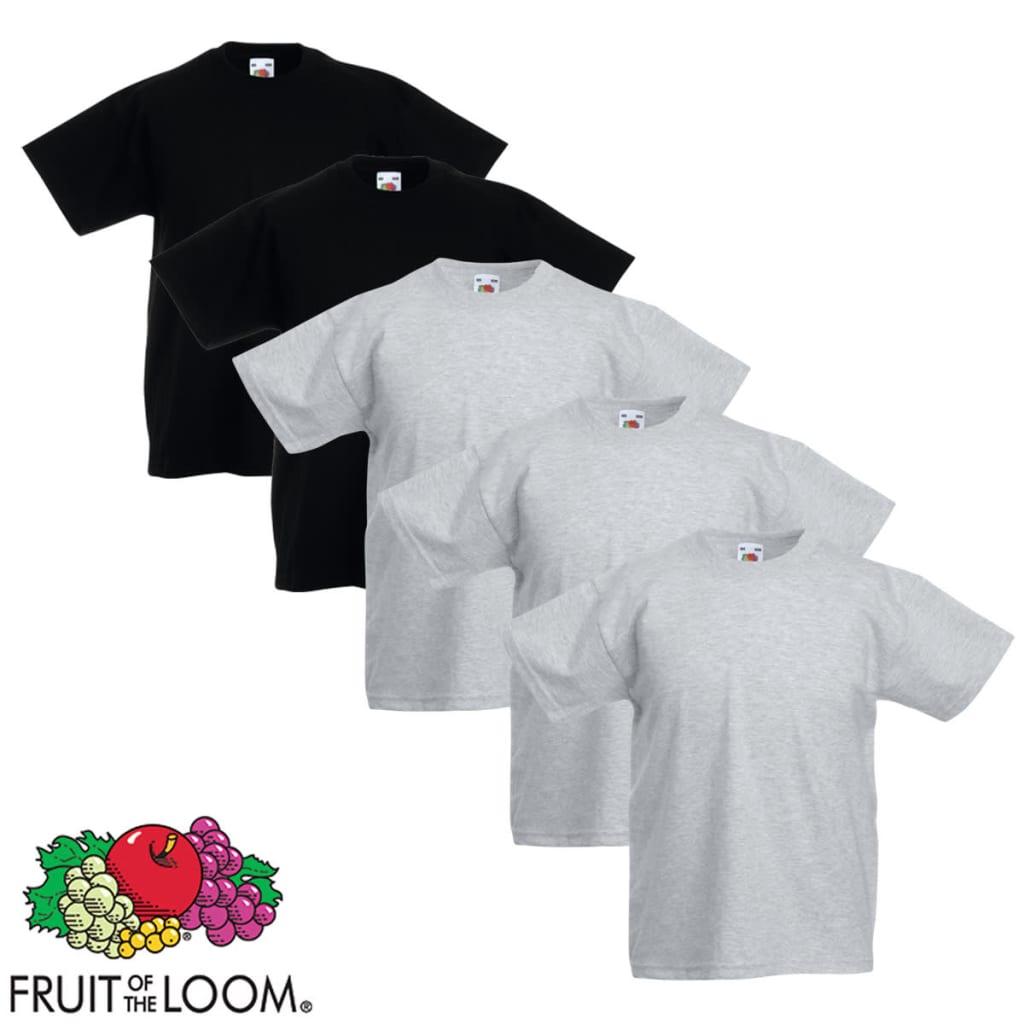 Fruit of the Loom 5 db eredeti gyerek póló szürke és fekete 116-os méret
