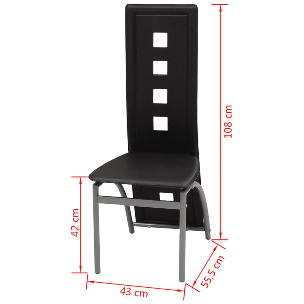 Vidaxl sillas de comedor 6 unidades cuero artificial negro - Sillas comedor cuero ...
