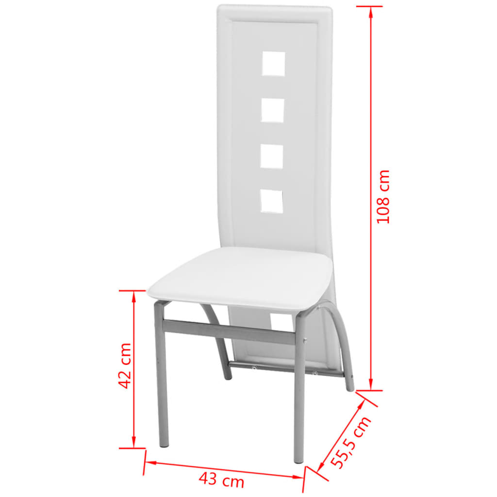 Vidaxl sillas de comedor 6 unidades cuero artificial for Sillas de comedor de cuero