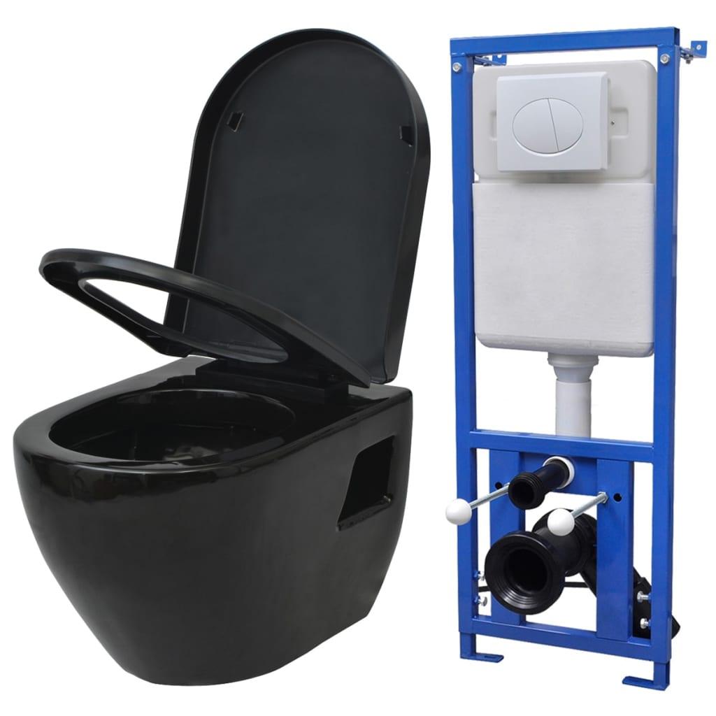 vidaXL falra szerelhető WC öblítőtartállyal kerámia fekete